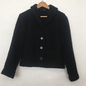 Eileen Fisher Black Fuzzy Button Coat Jacket Small